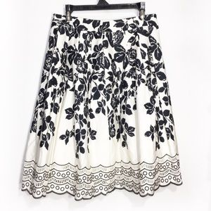TALBOTS FLORAL EYELET SCALLOP A LINE SKIRT 8